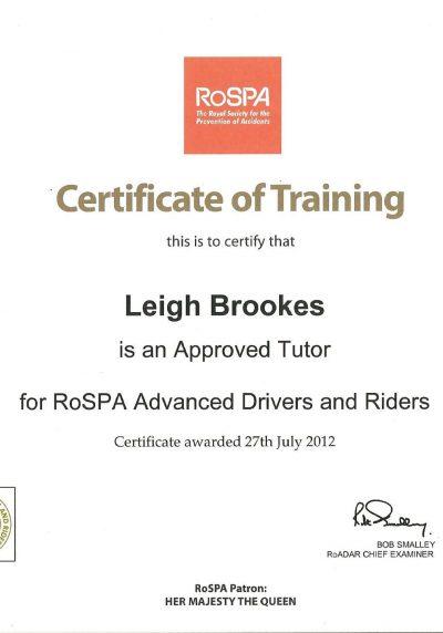 Rospa Tutors Certificate